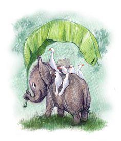 Rainy little elephant // sydwiki // Illustration by SYDNEY HANSON
