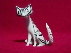 "Hollóháza,Art Deco Black & White Cat 3"",Hand Painted Porcelain Figurine. Flawless! Marked / Signed : Hollóháza Hungary Size Height : 8.2 cm. Length : 7.4 cm. Width : 7.0 cm."