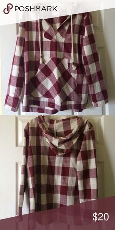 Maroon and Ivory Checked Hoody Maroon and Ivory Checked Hoody by Entro. Size large. Like new condition. measures 22 inches across chest from bottom of arm to the other. Measures 25 inches in length. Entro Tops Tees - Long Sleeve