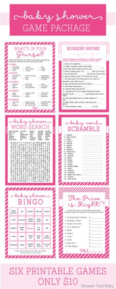 Baby Shower Games for only $10.00 - Bingo, Price is Right, What's in Your Purse, Word Scramble, Word Search, and Nursery Rhyme Quiz https://www.etsy.com/listing/188864408/baby-shower-games-package-in-pink-six?