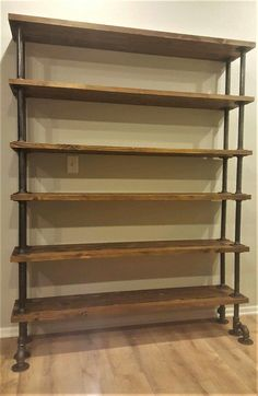 wohnidee Industrial Pipe Bookshelf, High Rise Edition Outdoor landscape lighting With a team of expe Industrial Pipe Shelves, Industrial Interior Design, Industrial House, Home Interior Design, Industrial Lamps, Industrial Furniture, Vintage Industrial, Metal Pipe Shelves, Industrial Trolley