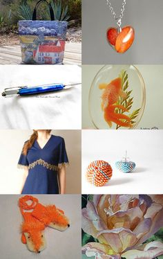 Good mix: blue and orange by carole on Etsy--Pinned with TreasuryPin.com