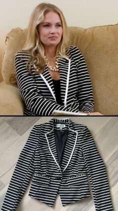 Cameran Eubanks' Navy Blue & White Nautical Striped Blazer http://www.bigblondehair.com/reality-tv/cameran-eubanks-navy-blue-white-striped-blazer/ Southern Charm Fashion