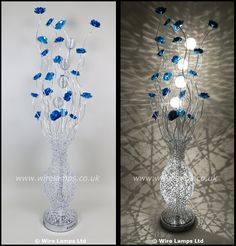 http://www.wirelamps.co.uk/WLF3069-6blue.html  Woven Wire Silver Floor Lamp featuring Blue Flowers