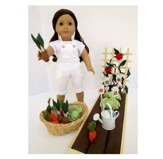 January Delivery *** DOLL GARDEN for American Girl ®, 18-inch Dolls.  Raised bed garden with soil, trellis, 12 wool-blend felt veggies