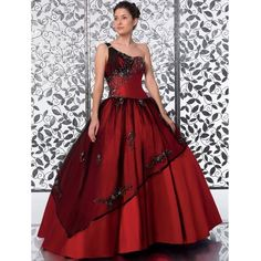 Deep red burgundy quinceanera dress gown one shoulder ❤ liked on Polyvore featuring dresses, red one shoulder dress, one-sleeve dress, single shoulder dress, off one shoulder dress and red one sleeve dress