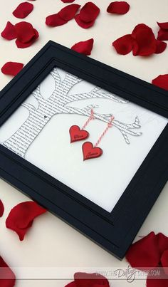 make a piece of framed art using the lyrics from your wedding song - DIY Valentine's Day gift