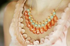 Mint and Coral Bib Necklace by ShopNestled on Etsy