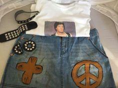 Jean Skirt SZ 10 Rock N Roll Rick Springfield Lg TShirt Black Stud Jewel Costume