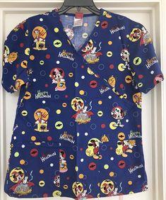 97e8730e066 Disney Mickey Mouse Halloween Scrub Top S Blue Small Donald Duck Pumpkin  Small #Disney Mickey