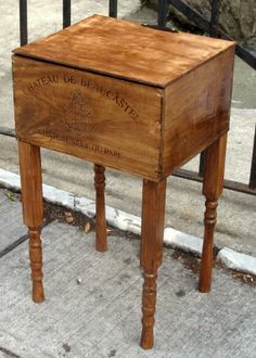 Wooden Wine Crate Side Table in Lower Manhattan, New York, NY, USA ~ Krrb