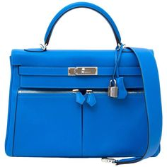 Hermès Kelly Lakis 32 Veau Swift Bleu Hydra PHW   From a collection of rare vintage top handle bags at https://www.1stdibs.com/fashion/handbags-purses-bags/top-handle-bags/