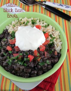 Slow Cooker Cuban Black Bean and Rice Bowls - Dinner (cept i cheated and used organic canned beans :)) Mexican Food Recipes, Whole Food Recipes, Vegetarian Recipes, Dinner Recipes, Healthy Recipes, Free Recipes, Crockpot Recipes, Cooking Recipes, Beans Recipes