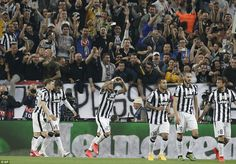 Juventus fans are rapturous as the team celebrate having taken the lead on 57 minutes afte...