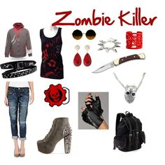 A cute outfit to look totally BA but who the hell would wear High heels and capris? or carry that dinky knife in an actual apocalypse? I'll take my Combat boots and firearms, thanks :)