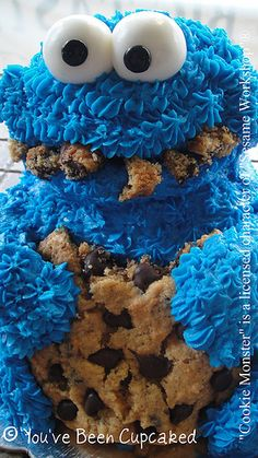Cookie Monster cake! My Mom made us many a Cookie Monster and Big Bird birthday cakes when we were little!