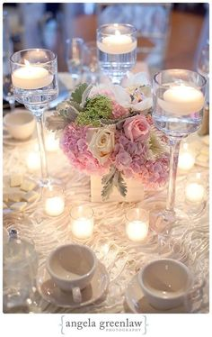 tall trio of stemmed candle holders with lush low arrangement in the centre Shelley….isn't this gorgeous? Floating Candle Centerpieces, Low Centerpieces, Centrepieces, Wedding Ceremony Decorations, Wedding Table, Wedding Ceremonies, Candle Holders Wedding, Bridal Flowers, Floral Wedding