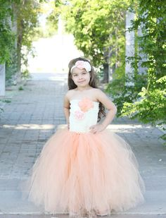 Newborn  Size 12 Ivory and Peach Feather Tutu by krystalhylton