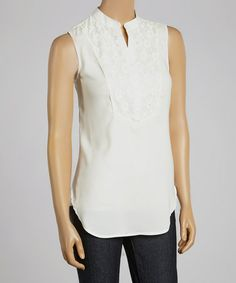 Look what I found on #zulily! White Lace Sleeveless Button-Up Top #zulilyfinds