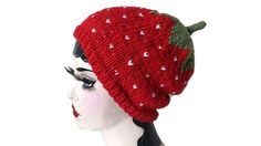 Merino Wool Strawberry Hat Knit Aran Beanie Hand knitted Adult Slouch by…
