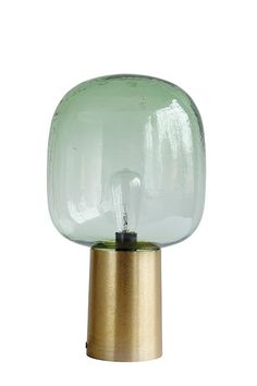 Cabana Green Glass Table Lamp The Cabana Table Lamp features a luxurious smoked glass shade on an an antique brass base Reminiscent of designer