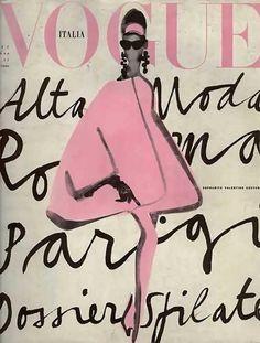 Vintage Vogue Poster - Vogue Italia Lady in Pink Vogue Pink Poster, Vogue Pink Art, Vogue Cover Poster, Vogue Cover Print - 2019 Vogue Vintage, Vintage Vogue Covers, Moda Vintage, Vintage Fashion, Retro Vintage, Vintage Stuff, Foto Fashion, Fashion Art, Fashion Design