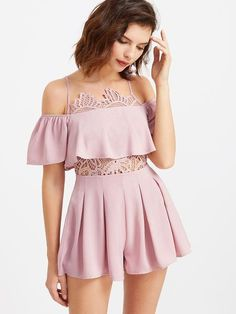 pink rompers, pink jumpers, lace top cold shoulder jumpsuits, spring summer outfits, pink trendy rompers - Lyfie