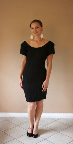 Vintage Little Black Dress with Bow (size 7/8)