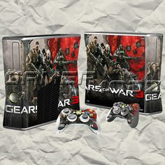 Gears of War 3 XBOX 360 Skin Set - Console with 2 Controllers