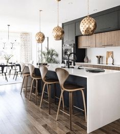 Here are the Black White Wood Kitchens Design Ideas. This post about Black White Wood Kitchens Design Ideas was posted Beautiful Kitchen Designs, Modern Kitchen Design, Beautiful Kitchens, Interior Design Kitchen, Interior Modern, Home Interior, Küchen Design, Layout Design, Design Ideas