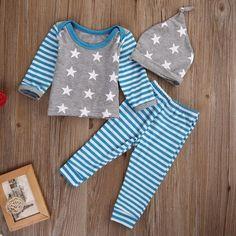 5a9de7b27eea 2017 Newborn Baby Outfits Star Stripes Long Sleeve T-shirt+Pants+Hats 3pcs