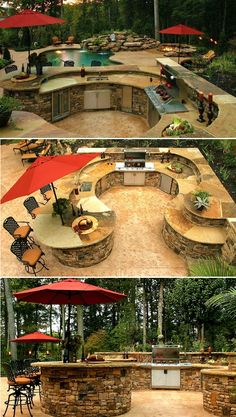 Outdoor Kitchen Ideas - Listed below you will certainly discover some outstanding exterior cooking area style concepts in addition to some suggestions that will make your outdoor patio elegant and also inviting, enjoy! Backyard Patio Designs, Backyard Landscaping, Patio Ideas, Diy Patio, Patio Bar, Backyard Retreat, Outdoor Rooms, Outdoor Living, Outdoor Kitchens