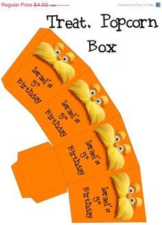 20% OFF SALE Digital Lorax Printable Birthday party treat,popcorn box, party favor
