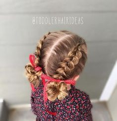 """""""Mi piace"""": 567, commenti: 31 - Cami Toddler Hair Ideas (@toddlerhairideas) su Instagram: """"Today I did 2 pancaked Dutch braids down to messy buns! #toddlerhair #toddlerhairideas…"""""""