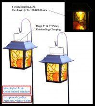 2 Pk Outdoor Garden Hanging Cane Solar Landscape Light 5 Amber LED by Atlantic Solars. $33.99. LED: 5 Ultra Bright White, Amber, or Blue LEDs, Can Last Up To 100,000 Hours. Primary Outer Material: Premium High-Quality Heat Resistant Plastic. Safe & water resistant with CE certified light bulbs.. Solar panel: New & Improved For Superior Charging. Operating Time: Up to 10 hours.. One Pre-Installed Exceptional 3.2V 600mAh Lithium Battery Per Unit, Can Last Up To 2 ...