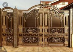 The choice of fencing for your home: photo ideas Steel Gate Design, Iron Gate Design, House Gate Design, Door Design, Railing Design, Home Fencing, Garden Gates And Fencing, Fence Gate, Metal Gates