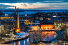Tampere city centre, view to Tammerkoski rapids from hotel Ilves, photo by Juha Suhonen. Cities In Finland, Travel Around The World, Around The Worlds, Art Nouveau Architecture, Helsinki, Great Photos, Norway, Places To See, Sweden
