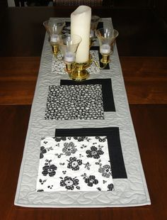 Modern Grey Table Runner Black White and Grey by FabriArts on Etsy