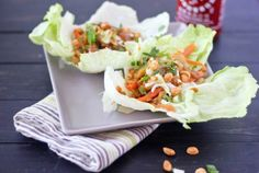 Thai Chicken Lettuce Wraps with Honey-Peanut Drizzle