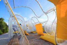 selgascano invades fondation d'entreprise martell's courtyard with transparent pavilion