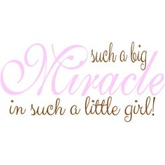 Such a Big Miracle in such a Little Girl - Nursery Wall Decal - Wall Quote Decal…