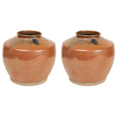 Couple of Glazed Terracotta Vases O/4016   From a unique collection of antique and modern ceramics at https://www.1stdibs.com/furniture/dining-entertaining/ceramics/