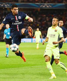 Thiago Silva of PSG and Neymar of Barcelona