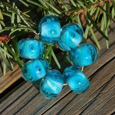 Wishing Well  Set of 7 Encased Lampwork Beads  Dan O by koregon, $24.00