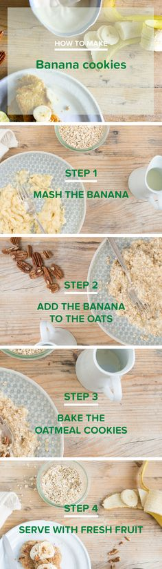 Cookies for breakfast? Bring it on! Coz we all know that banana loves oats, cinnamon and pecan nuts. Top your little brekkie cookies with some fresh fruit and a dollop of Alpro Simply Plain and we're thinking: is it morning yet? - Breakfast - Snack - Lactose-free - Vegan - Vegetarian - Banana - Oats