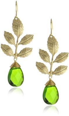 Privileged NYC Green Aqua Quartz Gold plated Branch Earrings