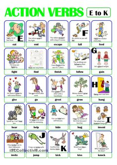 This is the second worksheet of the ACTION VERB set. It includes verbs from e) to k). There is always a picture and an example sentence to help make the meaning clearer. English Grammar Worksheets, English Verbs, Grammar Lessons, English Vocabulary, English Lessons, Learn English, Verbs List, Adjective List, Grammar For Kids