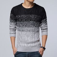 Gender: Men Brand Name: OEM Technics: Flat Knitted Hooded: No Wool: Standard Wool Collar: O-Neck Sleeve Length: Full Decoration: Pattern Pattern Type: Striped Sleeve Style: Regular Style: Casual Mater