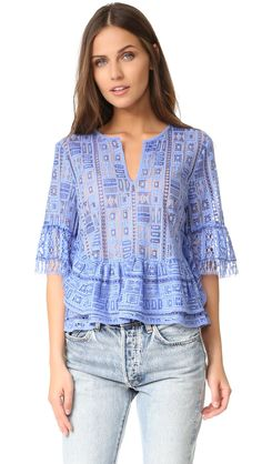 BCBGMAXAZRIA Women's Immane Top, Chambray Combo, XS. Front hook-and-eye closure. Sheer patchwork tile lace. Camisole lining with adjustable straps. Mid-weight, non-stretch fabric. Easy fit.