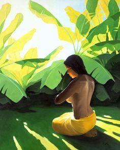 Banana Patch Painting by Kauai artist Pepe Patrick Conley Polynesian Art, Atelier D Art, Hawaiian Art, Inspiration Art, Surf Art, Tropical Art, Tropical Paintings, Beautiful Paintings, Figure Painting